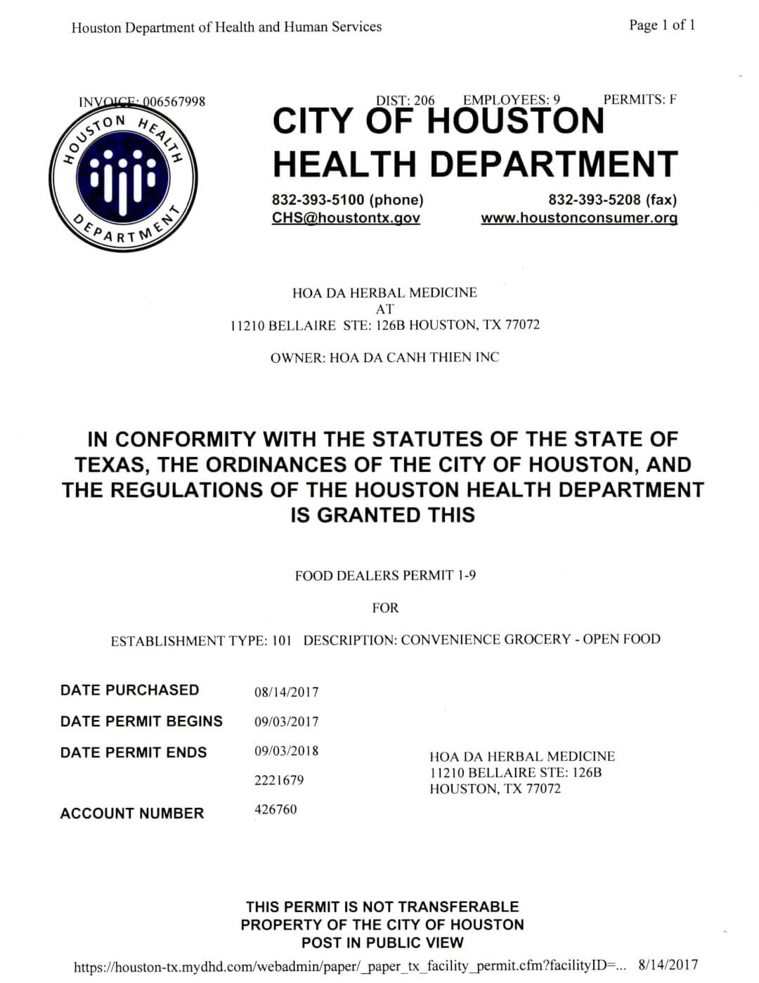 Chứng nhận từ Cơ quan quản lý sức khoẻ Houston