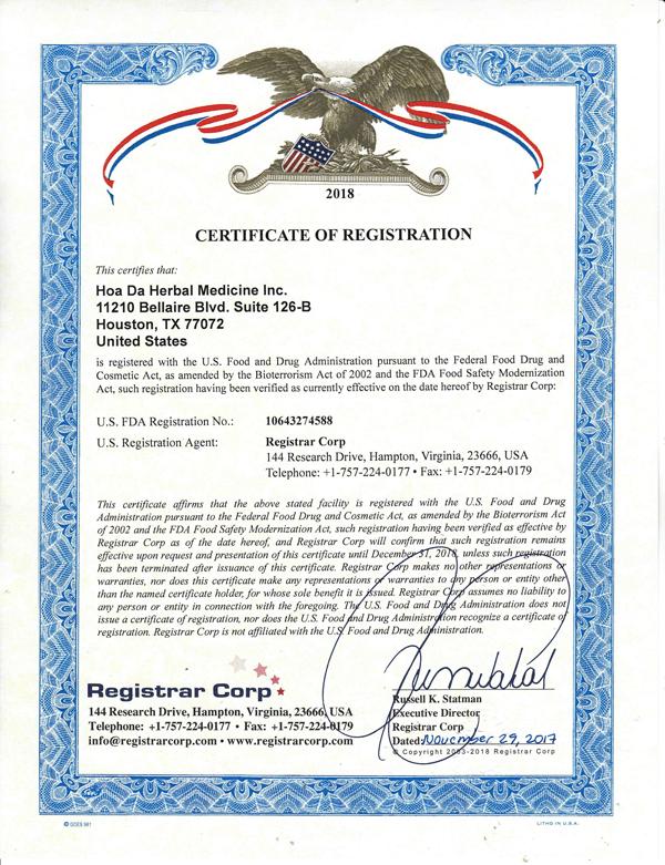 giấy chứng nhận cho Tọa Cốt Thống